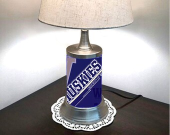 Table Lamp with shade, Washington Huskies Lamp with chrome shade