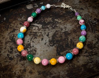 Rainbow Jade and Faux Silver Necklace