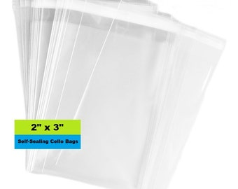 """Cello Bags, 2"""" x 3"""" Self Sealing Bags, Clear Cellophane Bags, Resealable, Poly Bags, Clear Bag, Product Packaging"""