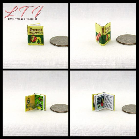 1:24 Scale Book The WONDERFUL WIZARD Of OZ Miniature Book Dollhouse Illustrated Children's Book Dorothy Toto Scarecrow Lion Witch Monkey