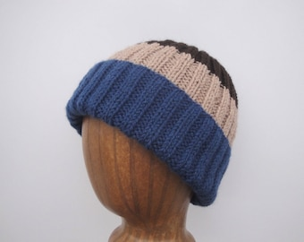 Color Block Beanie, Striped Hat, Men & Teen Boys, Hand Knit Watch Cap, Navy Blue Tan Brown, Acrylic Wool, Stretchy Hat
