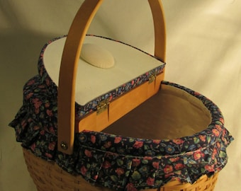 Sewing Basket, Lined, Split Lid, Built-in Pin Cushions, Wood, Handle