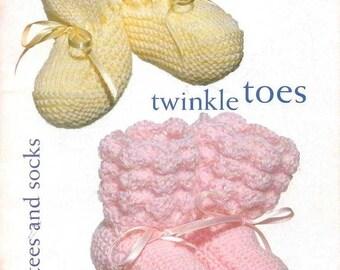 Vintage Twinkle Toes Baby Booties Socks knitting & crochet pattern instant download pattern