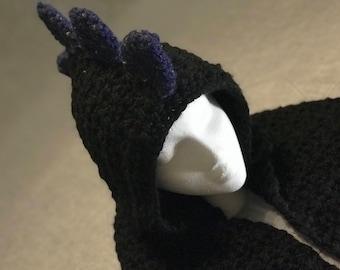 Handmade Crochet Spiked Scoodie / Hoodie scarf with Spikes / Dragon Hoodie Scarf / Dinosaur Hoodie Scarf
