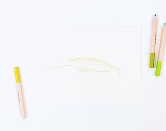 narwhal letterpress art print, 5x7 (CHARTREUSE)