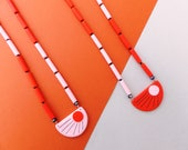 Art deco inspired - Etsy featured - minimalistic necklace - colorful design - original necklace - orange gift - polymer clay necklace