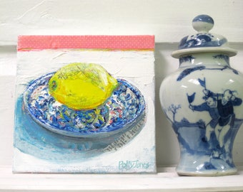 Lemon on a Saucer original acrylic mixed media still life painting by Polly Jones