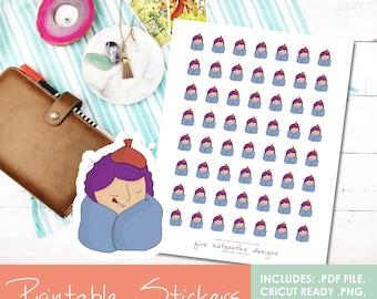 Printable Doodle Sick Day Girl Emlee Hand Drawn Stickers - Cricut Cut File, PDF, Black out File, Filofax, Kikki K,