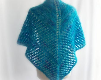 Knitted Shawl, Mohair Shawl, Wedding shawl, Lace Shawl, Winter Shawl, Blue Shawl, Gift for Her, Gift for Mum, Mothers Day Gift, Gift Boxed