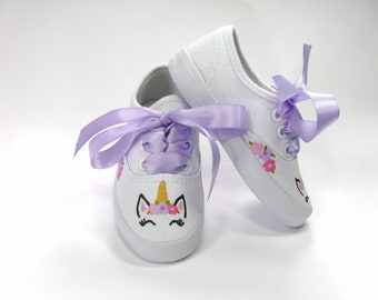 Unicorn Shoes, Hand Painted Sneakers for Baby or Toddler, Unicorn Theme Birthday Party