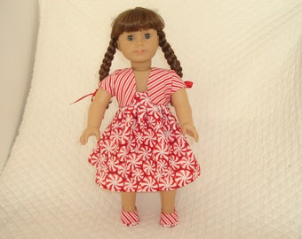 "Peppermint Sundress, Bolero and Shoes for American Girl Doll or other 18"" Dolls"
