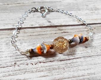 Beaded Flower Bracelet With Toggle Clasp End - Silver Chain Bracelet - Friendship Bracelet Layering Bracelet - Minimalist Bracelet