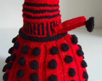 Hand Knitted Red Lurex and Black Dalek