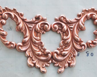 Gothic Necklace Base, Pierced Brass, Rose Gold, Brass Stampings Made in the USA