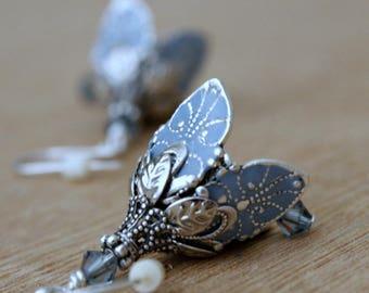 Girlfriend Gift, Blue Flower Dangle Earrings, Silver Earrings,Drop Earrings, Floral Jewelry, Crystal Flower Earrings, Gift for Girlfriend