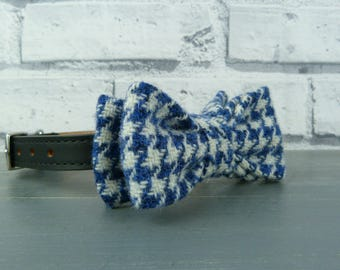 Dog Bow Tie - Harris Tweed, Blue and White Houndstooth, Harris Tweed Bow Tie for Dogs