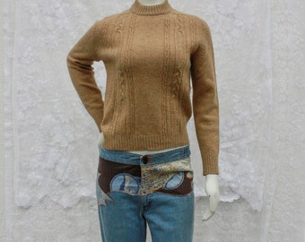 Camel Turtleneck Sweater - S