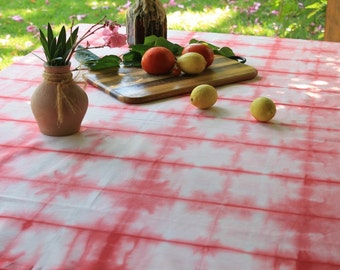Hand dye tablecloth -Red Shibori - Tie-dye handmade tablecloth