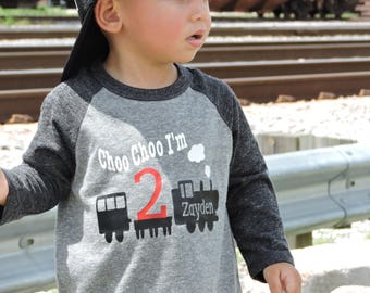 Choo Choo I'm 2 birthday shirt, choo choo I'm 2, train t-shirt, train shirt, train birthday shirt, 2nd birthday shirt