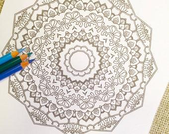 """Mandala """"Inshallah"""" - Hand Drawn Adult Coloring Page Print"""