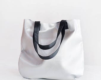 Vegan tote leather tote women handbags tote bag women tote bag work, silver tote bag minimalist bag vegan leather tote, metallic tote bag