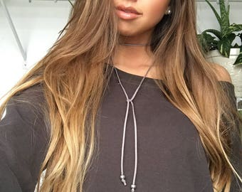 Gray Trendsetter Leather Choker Wrap Necklace