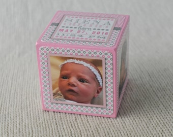 Birth Announcement Photo Block - Nursery Photo Block - Personalized Memory Blocks - Keepsake - Birth Announcement - Pink & Grey