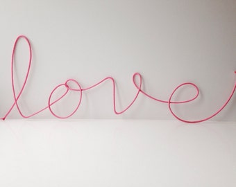"""Lace Sign """"love"""" soft cursive wire wall word"""