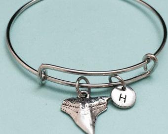 Shark tooth bangle, shark tooth charm bracelet, expandable bangle, charm bangle, personalized bracelet, initial bracelet, monogram
