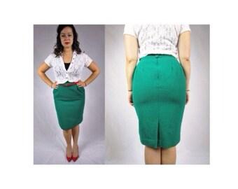 Vintage 1980s Kelly Green Wool Pencil Skirt Pencil Skirt With Pockets Vintage 50's inspired Pencil skirt