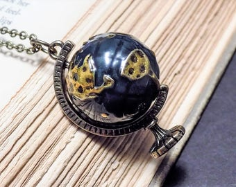Bronze and Blue Globe Necklace