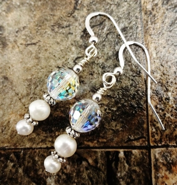White Pearl, Swarovski Crystal and Sterling Silver Earrings