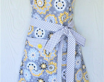 Apron Retro Style Womens Apron Vintage Inspired Floral Apron Gray and Yellow with Polka Dots KitschNStyle