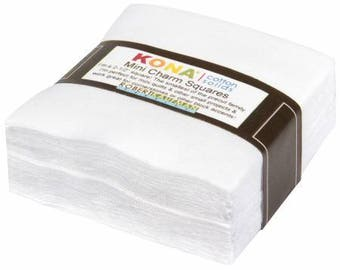 "White Kona Cotton Mini Charm Squares - 84 - 2.5"" Pre-Cut Fabric Squares - Robert Kaufman MCH-105-84, White Cotton Pre-Cut Squares"