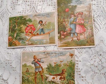 3 Antique MIDSUMMER TRADE CARDS People Boating Walking in Park Hunting Dogs Outdoor Fun 1890 Litho Rare Victorian Collage Ephemera 4.5 x 6.5