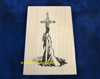 Lady of the Lake Avalon King Arthur Rubber Stamp