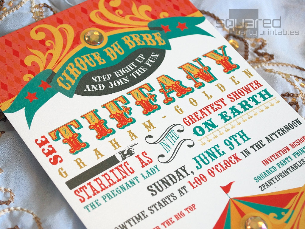 Circus Baby Shower Invitation DIY Print Vintage Cirque du