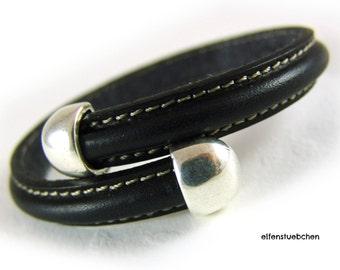 Women's leather bangle bracelet black silver -  women's bracelet leather  - for her