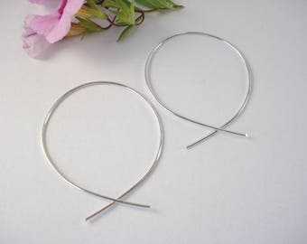 Sterling Silver, Hoop Earring, Hugs, Kisses, Give Back