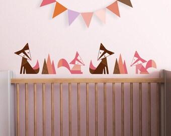 Fox Wall Decal, Girl Nursery, Nursery Wall Decal, Woodland Stickers, Wall Sticker, Scandinavian, Brown, Kids. Foxes Children Wall Decal