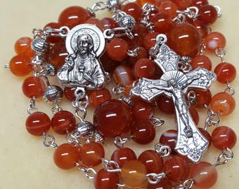 Agate Rosary with Sacred Heart of Jesus