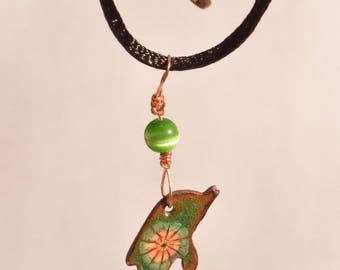 Enameled Copper Dolphin Pendant Necklace - green with red and yellow floral burst & cat's eye green bead. Kiln fired. Unique Gift!
