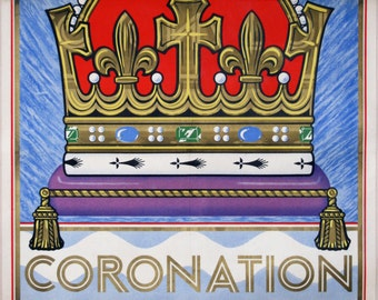 King George VI: A rare London Underground poster, announcing the Coronation of George VI, 1937