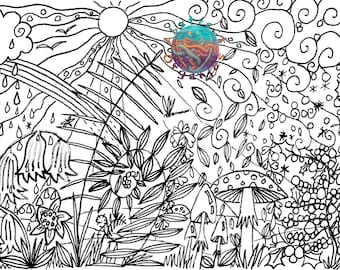 Four Seasons colouring page, adult colouring, art therapy colouring page, digital download, colour in art