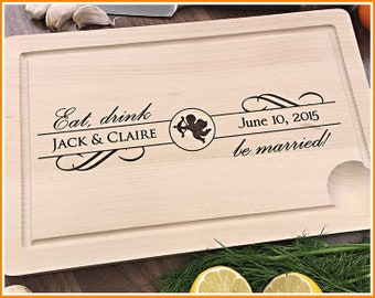 Personalized Cutting Board, Wedding Gift, Anniversary, Engagement, For Couple, Newlyweds, Custom Housewarming Gift, Engraved Cutting Board