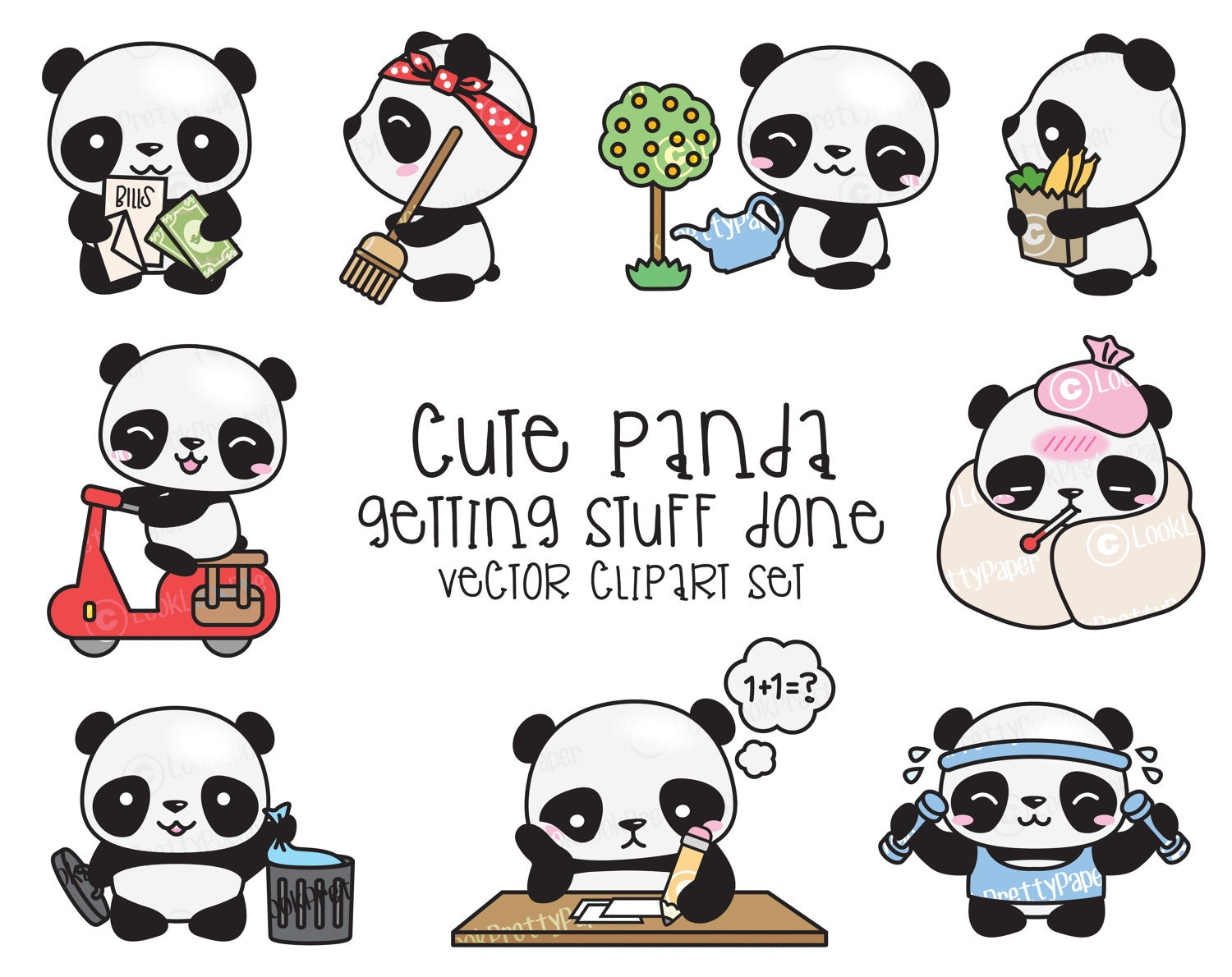 premium vector clipart kawaii panda cute panda planning rh etsy com Cute Baby Panda Clip Art Cute Cartoon Panda