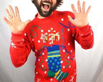 Ultimate 90s Knit Teddy Bear Christmas XMAS Season Holiday Sweater