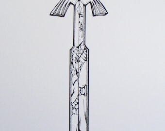 The Sword of Time -  Original Inkwork Drawing