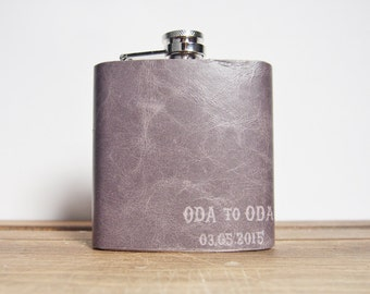 Custom Leather Flask, Soft Gray Genuine Leather, Recycled, Hand Engraved, limited edition, perfect for weddings, christmas