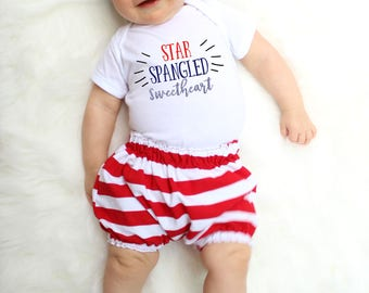 Girl Fourth of July Outfit - Babys First 4th of July - Fourth of July Baby Girl - 4th of July Baby Girl - American Flag Clothing - America